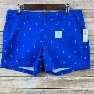 "Pants - Old Navy Sz 6 5"" Blue w/White Anchors Shorts"